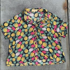 Pineapple Button Up Crop Top